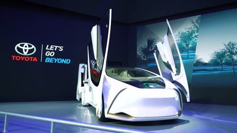Tangerang, Indonesia - August 08, 2018: Toyota i-Concept car showed at the event of Gaikindo Indonesia International Auto Show. Shot in 4k resolution
