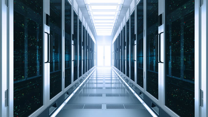 Concept of cloud data service center. Flow moving through rack servers. 3d rendering. | Shutterstock HD Video #1014900760