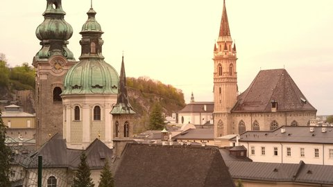 The towers of the baroque Salzburg Cathedral in Austria.