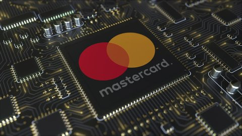 Computer printed circuit board or PCB with Mastercard Incorporated logo. Conceptual editorial 3D animation
