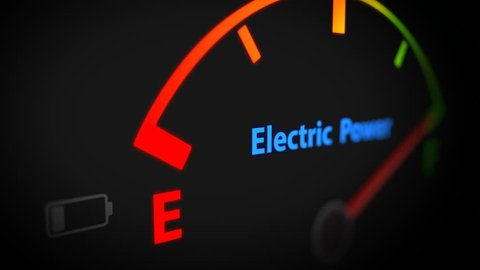 Electric Fuel Gauge Empty Animation With Empty Fuel Warning Light on Car Dashboard.