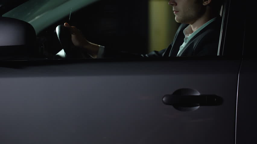 Driver in car touching prostitute outdoors, businessman looking for relaxation