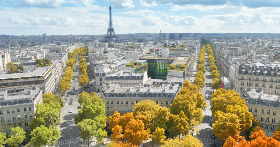 Paris in autumn color, Champs Elysees and the Eiffel Tower