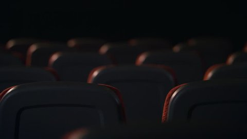 Empty comfortable seats in cinema. Empty seats in movie theatre. Back view of armchairs in empty hall of cinema. Cinema hall is ready for visitors. Cinema chair back view