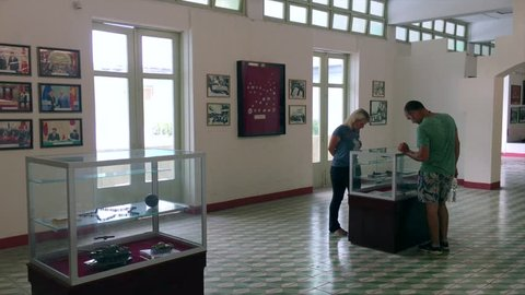 DA NANG, VIETNAM - OCTOBER 2017: Visitors at the Zone 5 Military Museum. It covers all Vietnamese resistance to foreign occupation from China, France and the USA and the current standoff with China