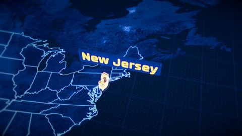 US New Jersey state border 3D visualization, modern map outline, travel