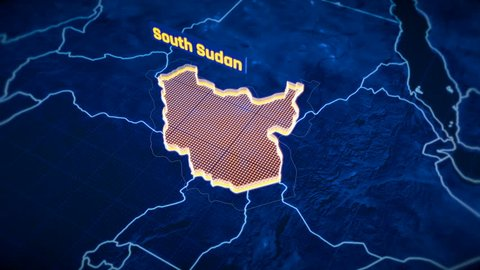South Sudan country border 3D visualization, modern map outline, travel