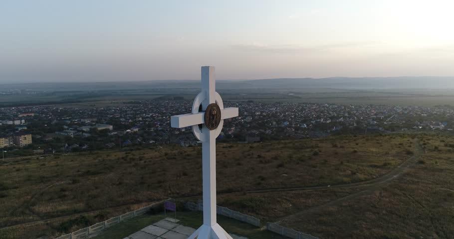 Round panorama video of Worship Cross near Anapa city, Black sea, Russia