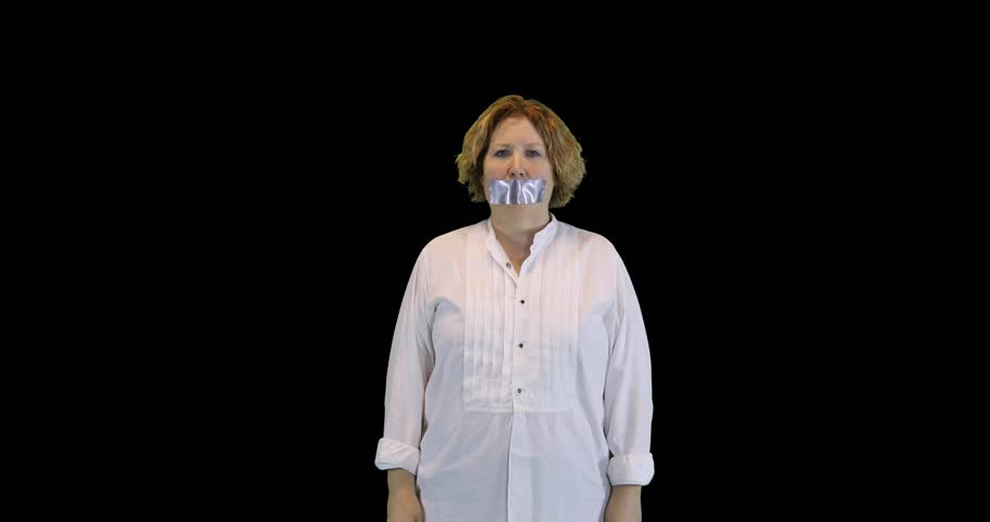 Mature woman removing duct tape on mouth as metaphor for taking away censorship.
