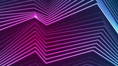 Blue and ultraviolet neon laser glowing curved lines abstract motion background. Seamless loop. Video animation Ultra HD 4K 3840x2160