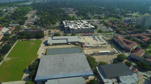 Drone footage Louisiana College Campus or generic hospital scene 4k 24p