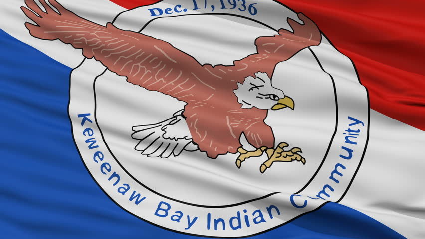Keweenaw Bay Community Lanse Reservation Indian Flag, Closeup View Realistic Animation Seamless Loop - 10 Seconds Long