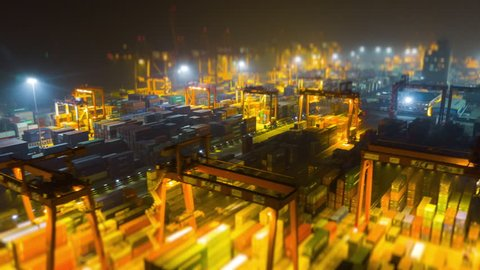 night time illuminated shenzhen city famous port aerial panorama 4k tilt shift timelapse china