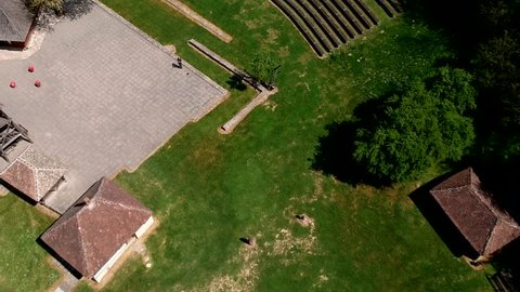 Aerial drone view of ethno village Trsic