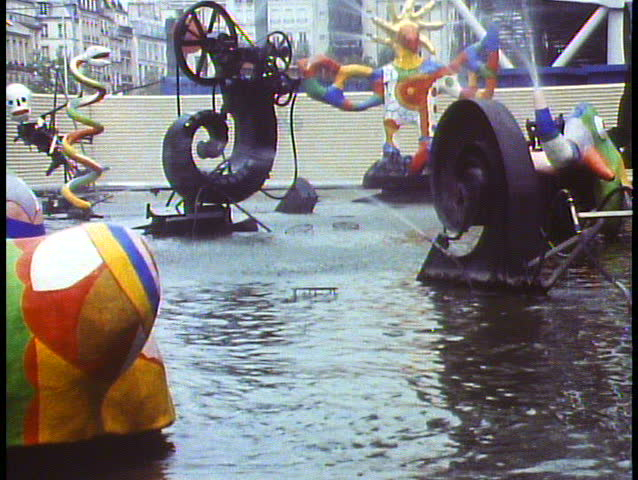PARIS, FRANCE, 1988, George Pompidou Center, kinetic fountain, ultra modern