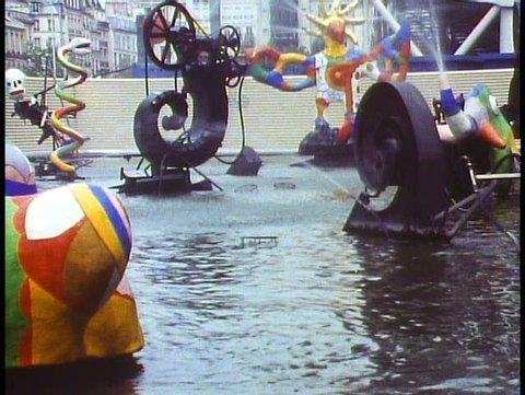 PARIS, FRANCE, 1988, George Pompidou Center, kinetic fountain, ultra modern