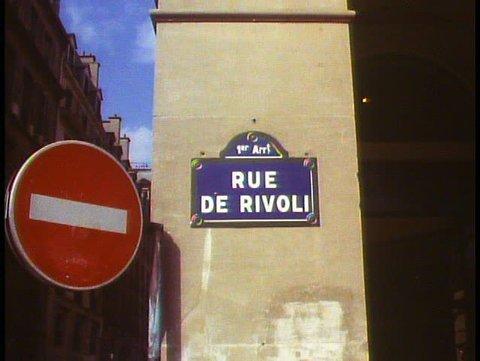 PARIS, FRANCE, 1988, Rue de Rivoli street sign medium, zoom in close up