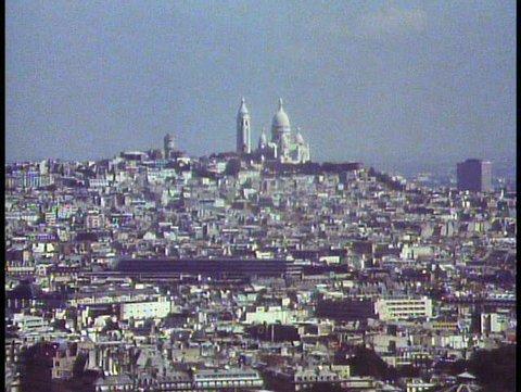 PARIS, FRANCE, 1988, View over Paris from Eiffel Tower, Montmartre, Sacre Couer