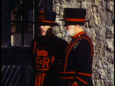 LONDON, ENGLAND, 1988, Beefeaters, two Yeoman Warder, talking, close up