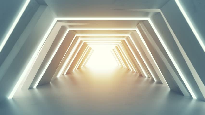 Futuristic tunnel with fluorescent lights. Sci-fi interior corridor. 3D render seamless loop animation 4k UHD 3840x2160 | Shutterstock HD Video #1015220890