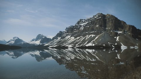 4K Bow lake, Banff, Alberta - Mirror reflections of mountains - Panning left, different angle