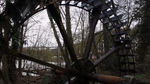 Old Water mill wheel at Limburg in Spring