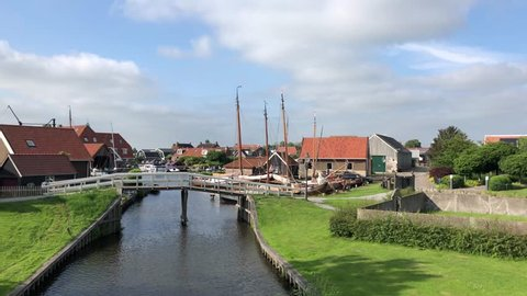 A canal in Workum, Friesland The Netherlands