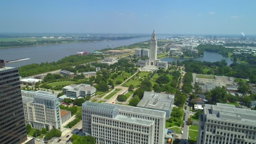 Aerial Louisiana State Capitol Building 4k 24p cinema