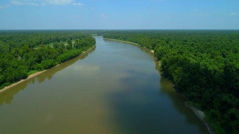 Aerial footage reveal Atchafalaya River meandering nature scene