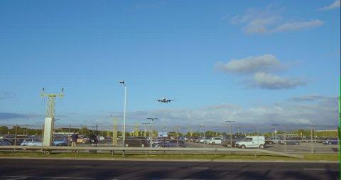 Big Airplane Landing at Heathrow International Airport.