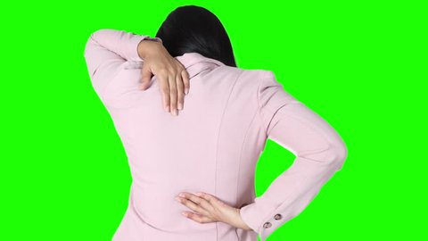 Asian business girl with scoliosis , green background