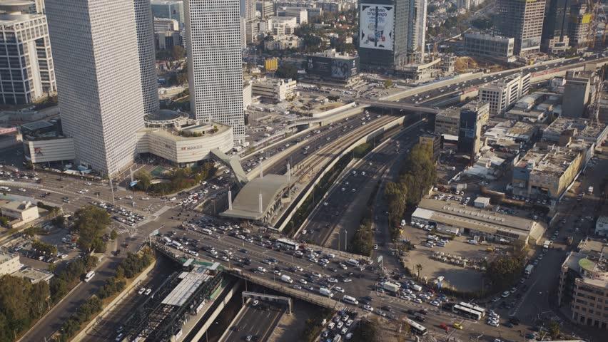 TEL AVIV, ISRAEL - APRIL, 2018: Tel Aviv Skyline At Day,  Aerial View,  Israel - tilt up | Shutterstock HD Video #1015359550