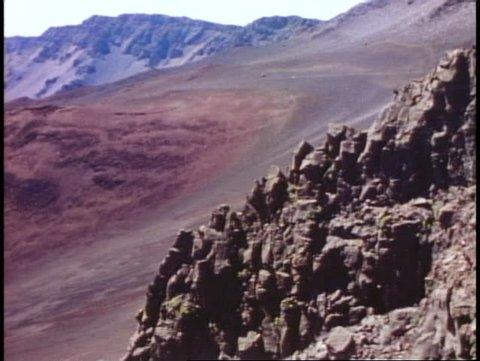 MAUI, HAWAII, 1978, Haleakala crater, medium shot into the cinder cone valley