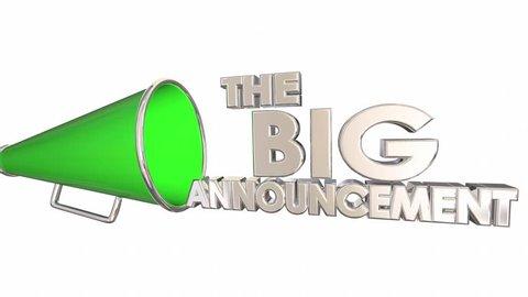 The Big Announcement News Update Bullhorn Megaphone 3d Animation