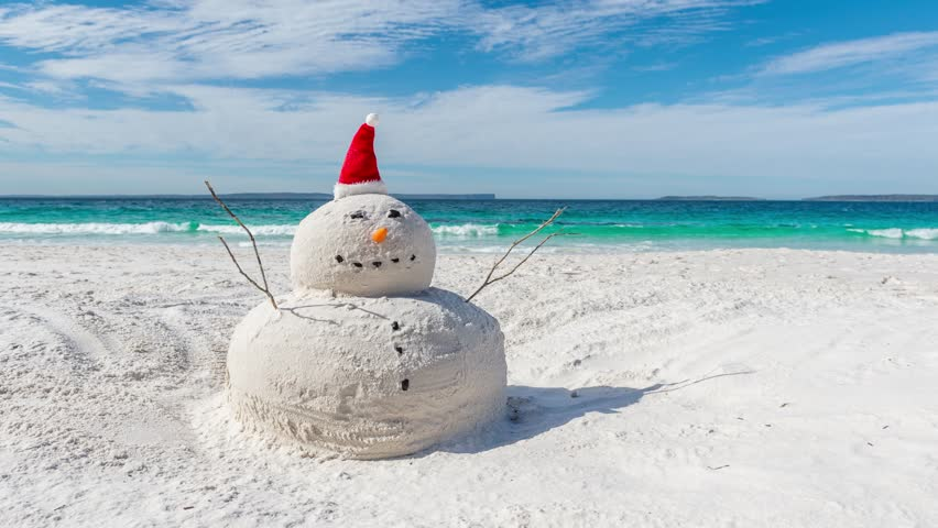 Time lapse video of Australian Christmas Sandman on a beautiful white sandy beach | Shutterstock HD Video #1015419190