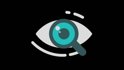 SEO signs icons animation with black png background.SEO eye icon animation with black png background.