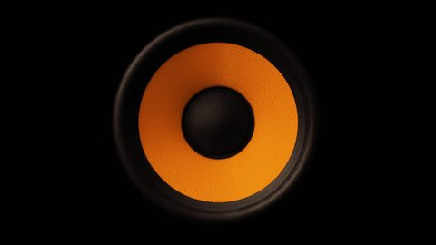 Loud Speaker In Action. Close Up View of sound waves Orange membrane.