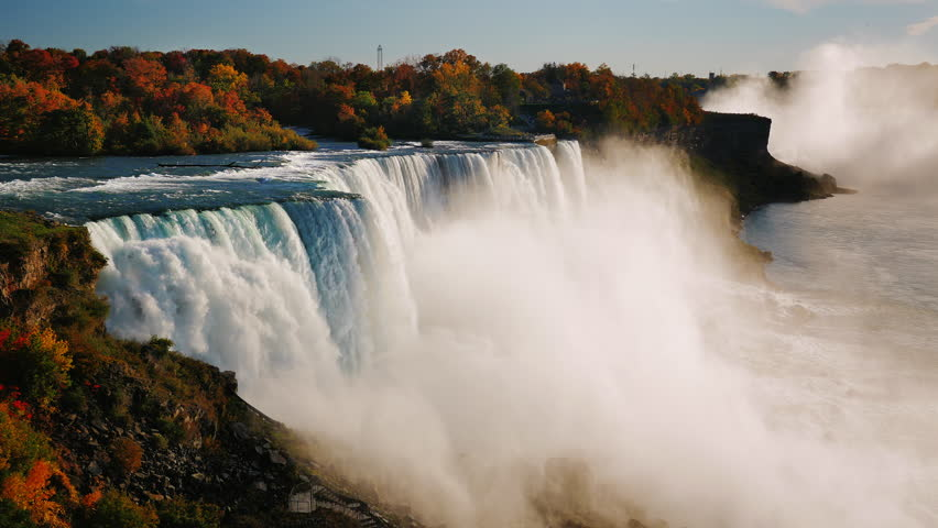 Fall at Niagara Falls. Aerial view of one of the most popular tourist destinations in the US