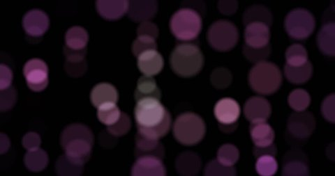 cyclic animation of defocused flow points of light on a black background, violet purple blue white bokeh background, abstract CGI images of high definition, with alpha channel, loop