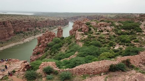 Aerial Pan over a Gorge with River , Gandikota