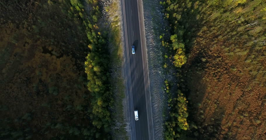 Top view at northern highway in autumn coniferous forest. Vehicles driving on road. Drone flying above | Shutterstock HD Video #1015543870