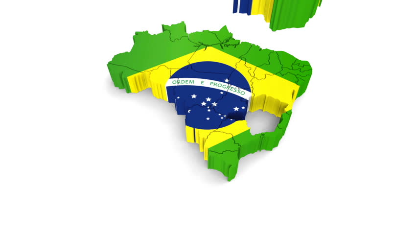 Animation rotation of the symbol of Brazil map on a white.  There is an alpha channel for compositing. 3d footage