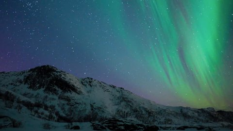 Northern Lights, polar light or Aurora Borealis in the night sky over the Lofoten islands in Northern Norway.