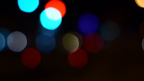 Defocused night traffic lights - Bangkok street - abstract background