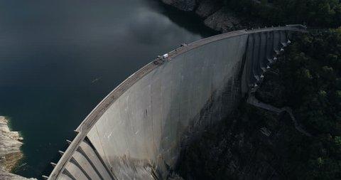 Turn around Contra dam - Aerial 4K