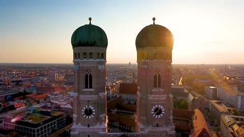 Aerial view of Munich City Germany at sunrise, Cathedral Church of Our Lady (Frauenkirche) in munich old town Marienplatz. Beautiful Munchen Skyline aerial view at morning. Munich skyline panoramic.