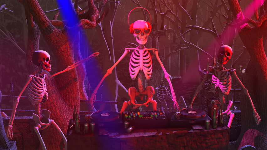 Seamless animation of a DJ skeleton and skeletons dancers in a cemetery at night. Funny halloween background.