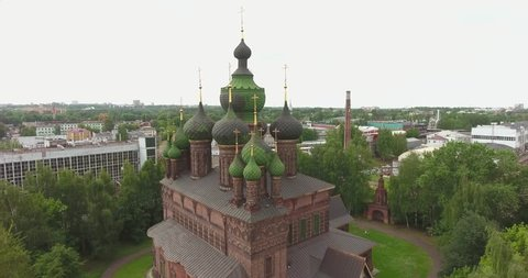 Aerial of the Church of St. John the Baptist in Tolchkovo, Yaroslavl, Russia. top view