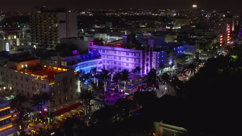 MIAMI BEACH, FL, USA - AUGUST 31, 2018: Aerial night footage of the Clevelander hotel night club on Ocean Drive