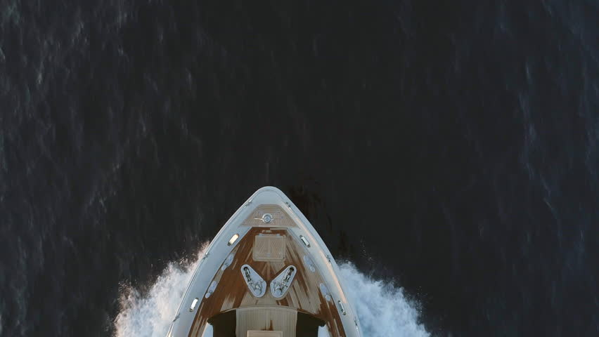 Bird's Eye View of the Deck of a Luxury Yacht in the Ocean  #1015809640